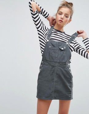 photo Cord Dungaree Dress in Washed Khaki by ASOS, color Khaki - Image 1