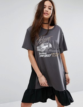 photo Frills Logo Print T-Shirt Dress by Pull&Bear, color Black - Image 1