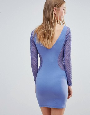 photo Mesh Insert Bodycon Dress by Motel, color Blue/Purple - Image 2