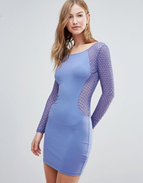 photo Mesh Insert Bodycon Dress by Motel, color Blue/Purple - Image 1