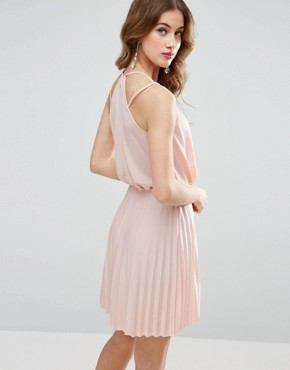 photo Blouson Wrap Pleated Mini Dress by ASOS, color Nude - Image 2