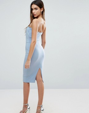 photo Bandeau Knot Top Midi Bodycon Dress by ASOS, color Blue - Image 2