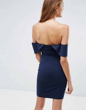 photo Bandeau Fold Bardot Mini Dress with Cut Out Waist by ASOS, color Navy - Image 2