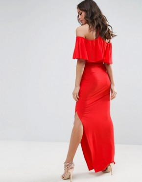 photo Ruffle Bandeau with Neck Strap Maxi Dress by ASOS, color Red - Image 2