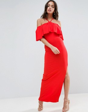 photo Ruffle Bandeau with Neck Strap Maxi Dress by ASOS, color Red - Image 1