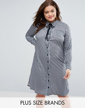 photo Gingham Shirt Dress with Side Splits by Pink Clove, color  - Image 1