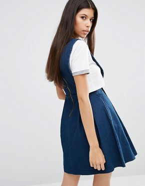 photo Take Me Away Stretch Denim Pinafore Dress by Goldie, color Blue - Image 2
