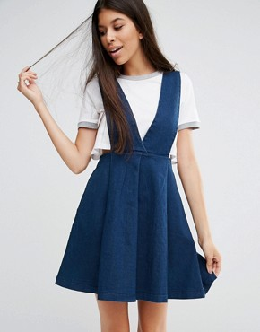 photo Take Me Away Stretch Denim Pinafore Dress by Goldie, color Blue - Image 1