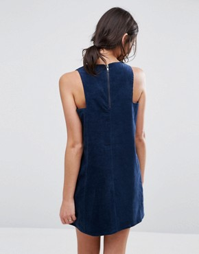 photo Mini Cord Square Armhole Dress by Native Youth, color Navy - Image 2