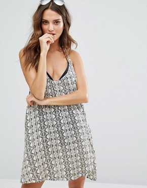 photo Tile Print Strappy Beach Dress by Amuse Society, color  - Image 1
