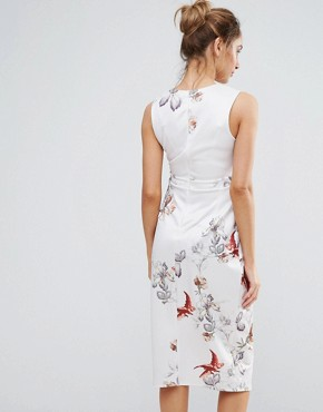 photo Floral Print Body Con Midi Dress by Hope & Ivy Maternity, color Blush - Image 2