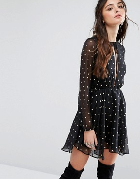 photo Metallic Spot Skater Dress by Lovers + Friends, color Gold Dot - Image 1