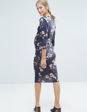 photo Floral Printed Bodycon Dress by Bluebelle Maternity, color Navy - Image 2