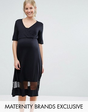 photo Tea Dress with Mesh Insert by Bluebelle Maternity, color Black - Image 1