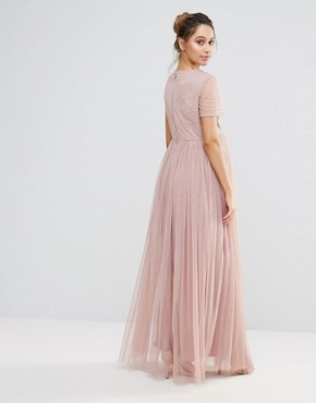 photo Embellished Bodice Maxi Dress with Tulle Skirt by Maya Maternity, color Blush - Image 2