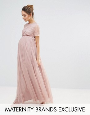 photo Embellished Bodice Maxi Dress with Tulle Skirt by Maya Maternity, color Blush - Image 1