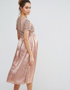 photo Midi Dress with Satin Skirt and Embellished Bodice by Maya Maternity, color Rose Gold - Image 2