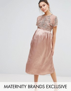 photo Midi Dress with Satin Skirt and Embellished Bodice by Maya Maternity, color Rose Gold - Image 1