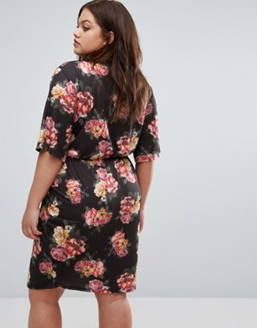 photo Floral Print Wrap Dress with Collar by Pink Clove, color  - Image 2