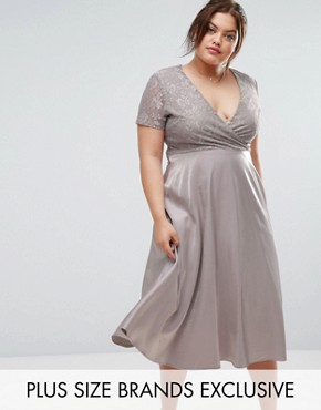 photo Lace Bardot Full Skirt Midi Dress by Truly You, color Grey - Image 1
