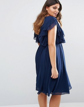 photo Ruffle Dress by Lovedrobe, color Navy - Image 2