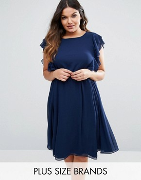 photo Ruffle Dress by Lovedrobe, color Navy - Image 1