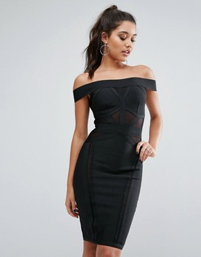 photo Bandage Off Shoulder Dress by WOW Couture, color Black - Image 1