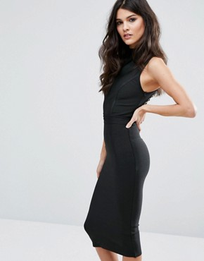 photo Bandage Midi Dress with High Neck and Lace Up Back by WOW Couture, color Black - Image 2