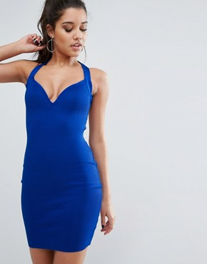 photo Bandage Mini Dress with Cage Back Detail by WOW Couture, color Royal Blue - Image 2