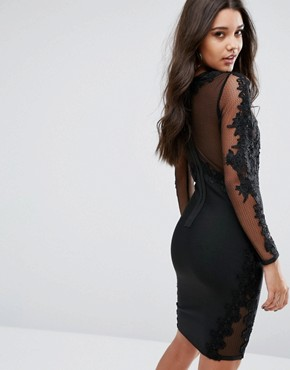 photo Bandage Midi Dress With Lace Detail by WOW Couture, color Black - Image 2