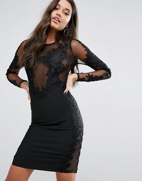 photo Bandage Midi Dress with Lace Detail by WOW Couture, color Black - Image 1