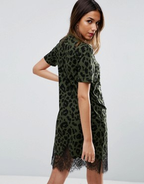 photo T-Shirt Dress with Lace Inserts in Leopard Print by ASOS, color Khaki - Image 2
