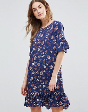 photo Drop Hem Shift Dress with Frill Sleeve by Vila, color Blue - Image 1