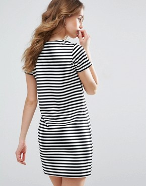 photo Striped T-Shirt Dress by Vila, color Black/White - Image 2