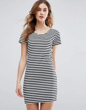 photo Striped T-Shirt Dress by Vila, color Black/White - Image 1