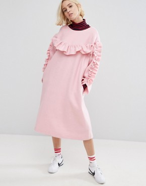photo Frill Detail Smock Dress by STYLENANDA, color Pink - Image 1
