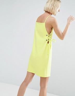 photo Mini Dress with Lace Up Eyelet Waist by ASOS, color Chartreuse - Image 2