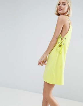 photo Mini Dress with Lace Up Eyelet Waist by ASOS, color Chartreuse - Image 1