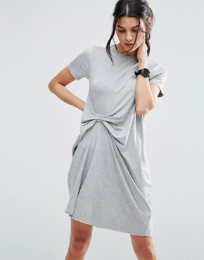 photo T-Shirt Dress With Gathered Front by ASOS, color Grey Marl - Image 1