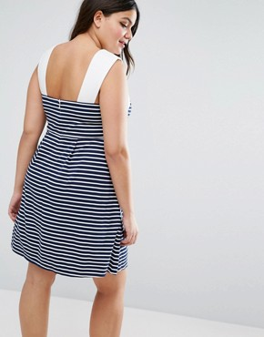 photo Stripe Mini Skater Dress with Contrast Neck Detail by ASOS CURVE, color  - Image 2