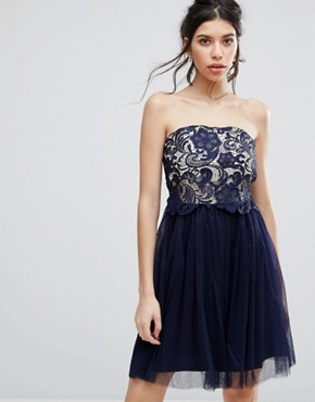 photo Lace Overlay Bandeau Prom Dress by Little Mistress, color Navy - Image 1