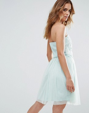 photo Lace Overlay Bandeau Prom Dress by Little Mistress, color Turquoise - Image 2