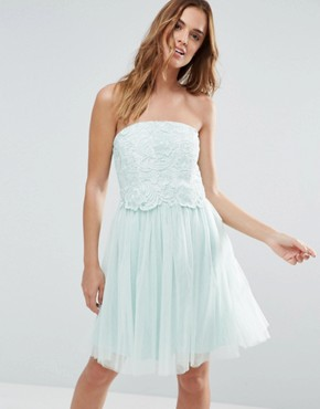photo Lace Overlay Bandeau Prom Dress by Little Mistress, color Turquoise - Image 1