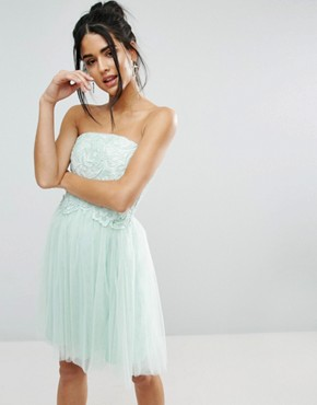 photo Lace Overlay Bandeau Dress by Little Mistress, color Blue - Image 1
