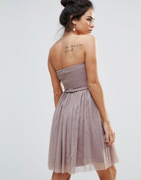 photo Lace Overlay Bandeau Prom Dress by Little Mistress, color Mocha - Image 2