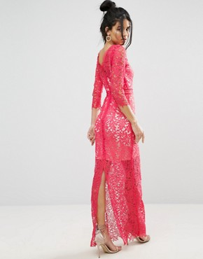 photo Crochet Maxi Dress by Little Mistress, color Pink - Image 2