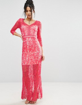 photo Crochet Maxi Dress by Little Mistress, color Pink - Image 1