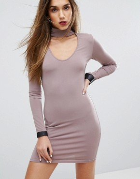photo Bodycon Dress with Choker Detail by Motel, color Lilac - Image 1