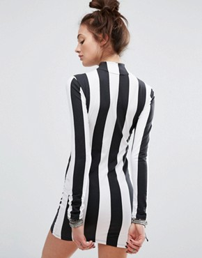 photo Bodycon Dress with Long Sleeve In Monochrome Stripe by Motel, color Black - Image 2