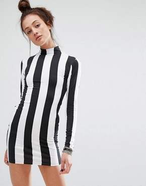 photo Bodycon Dress with Long Sleeve In Monochrome Stripe by Motel, color Black - Image 1